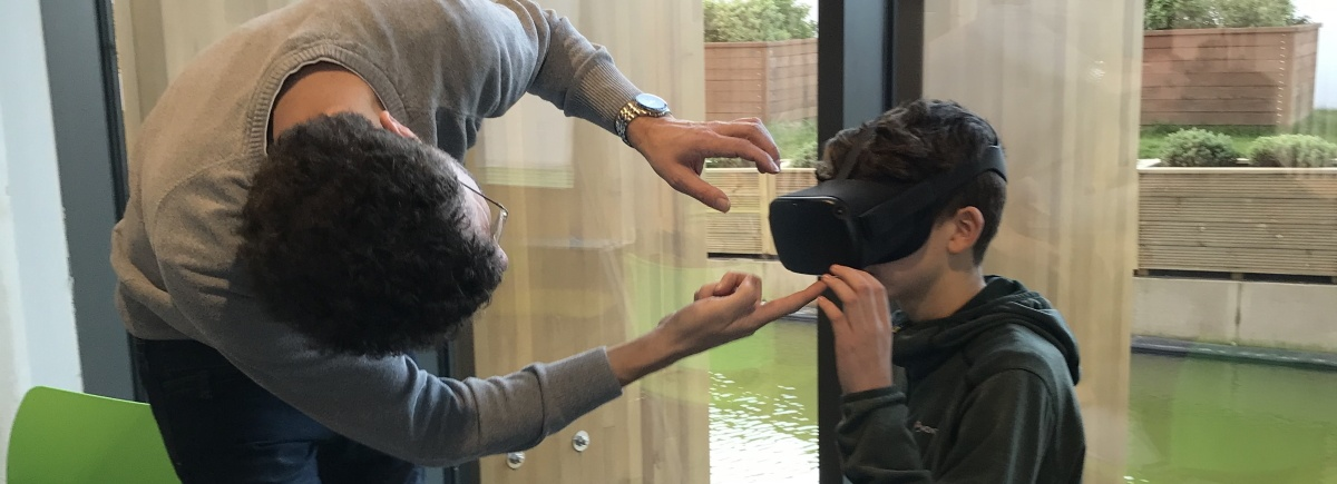 A boy tries out VR